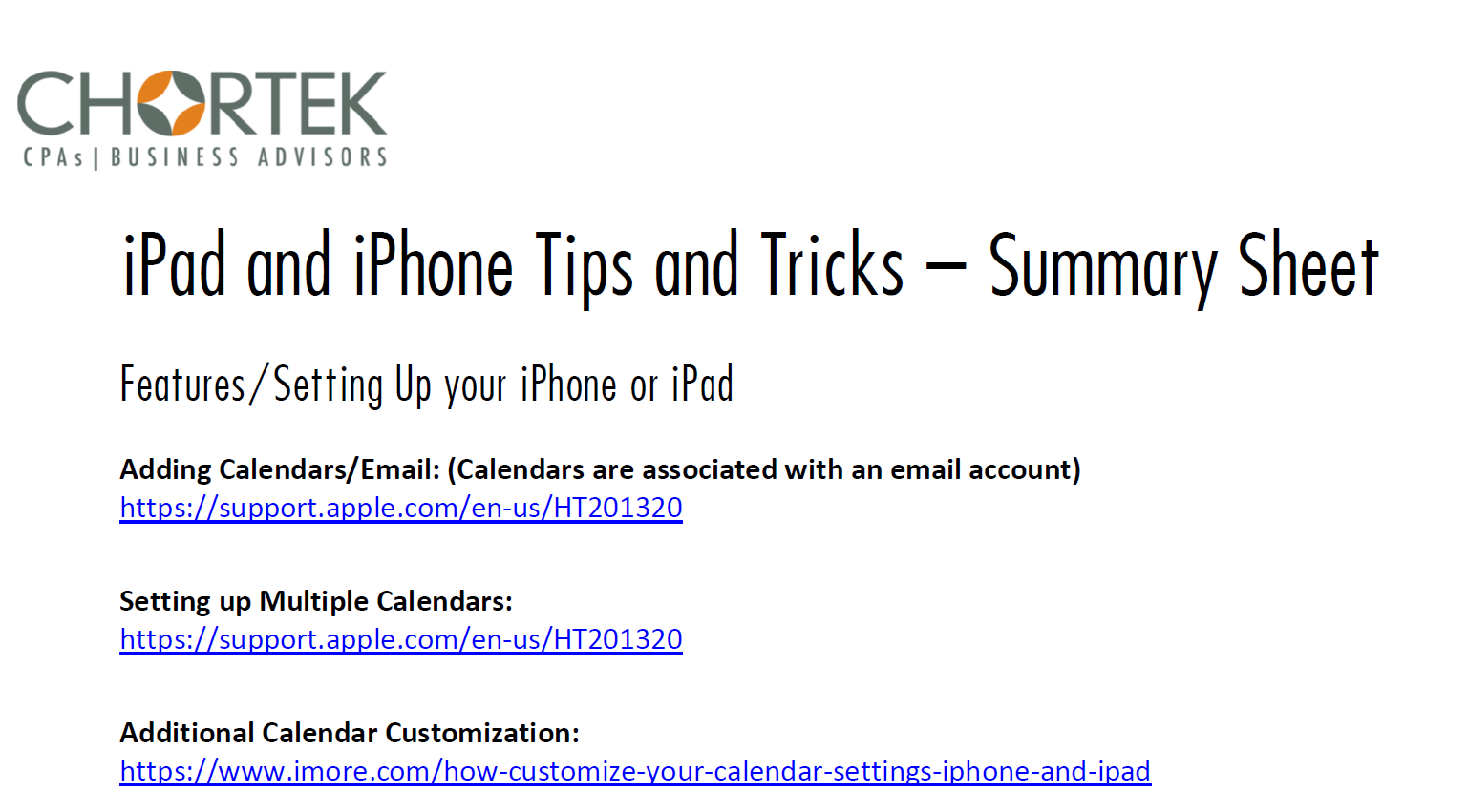iPhone and iPad Tips and Tricks Cheat Sheet
